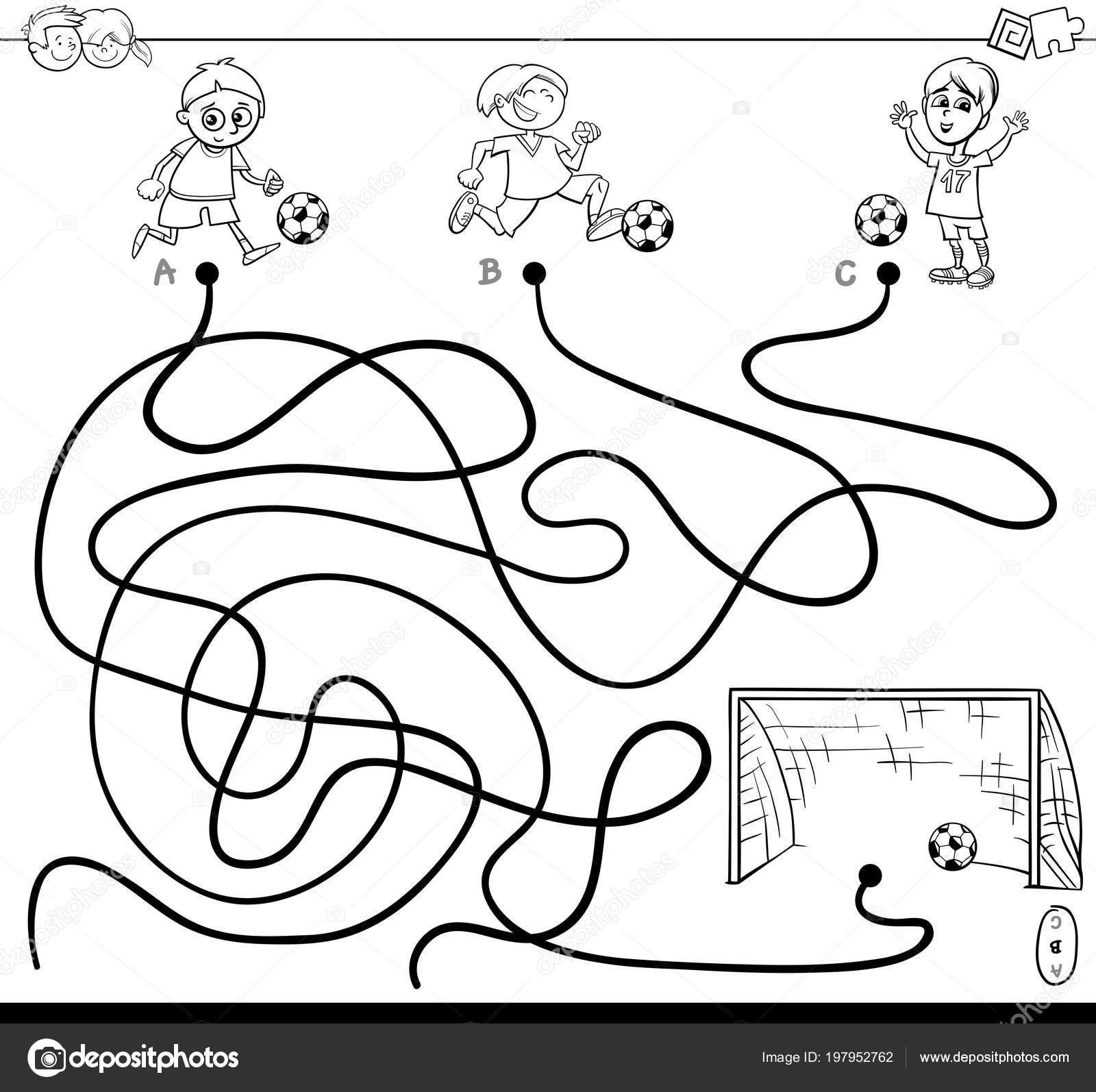 Zwart Wit Cartoon Afbeelding Van Paden Spel Van Activiteit Van
