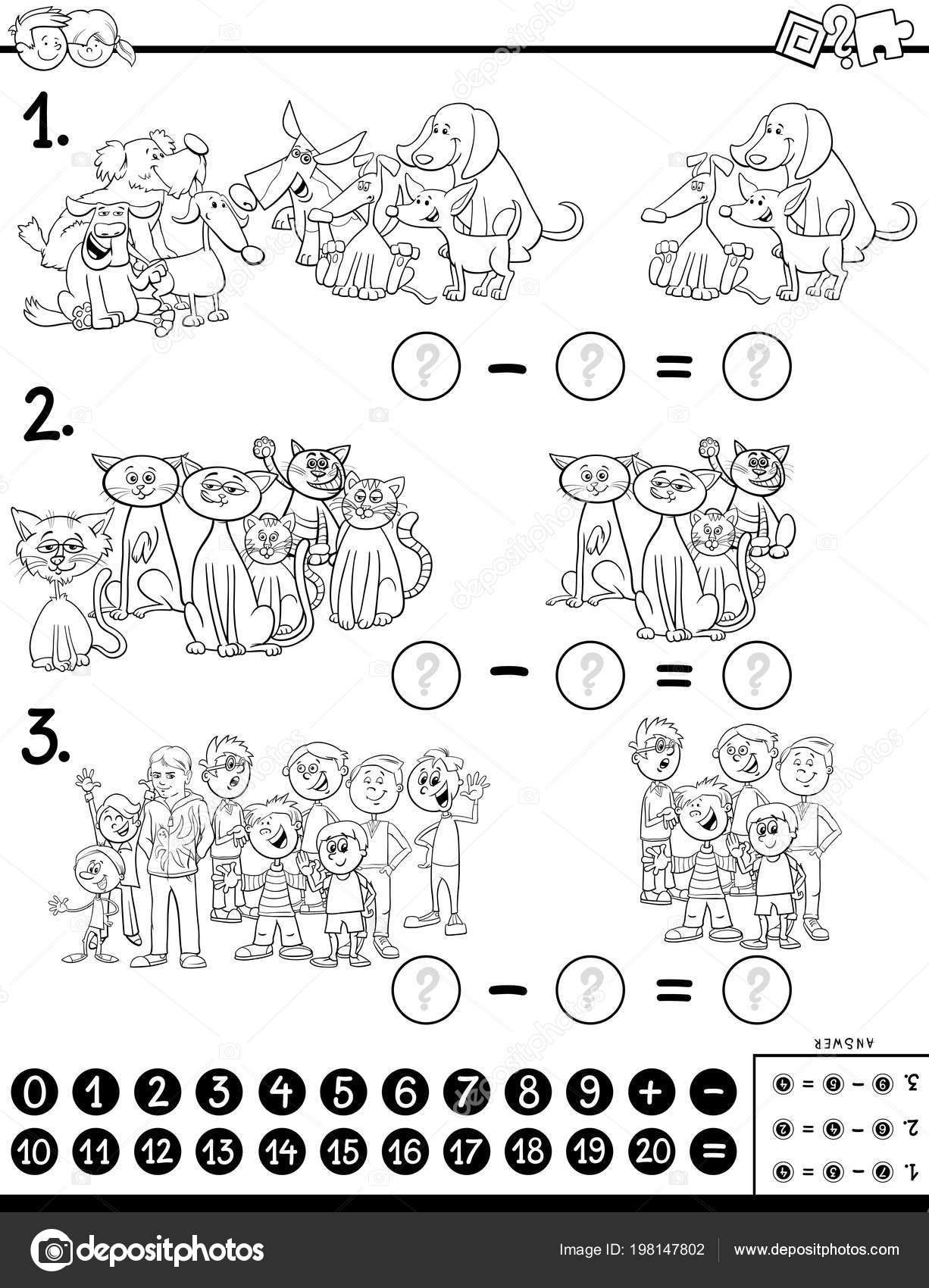 Ilustración Dibujos Animados Blanco Negro Juego Resta Matemática
