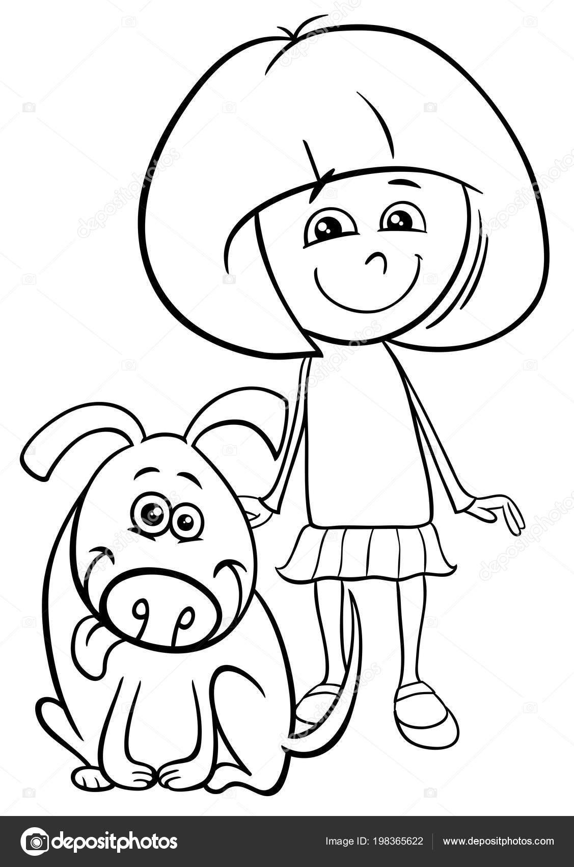 Ilustracion Dibujos Animados Blanco Negro Nino Nina Con Perro