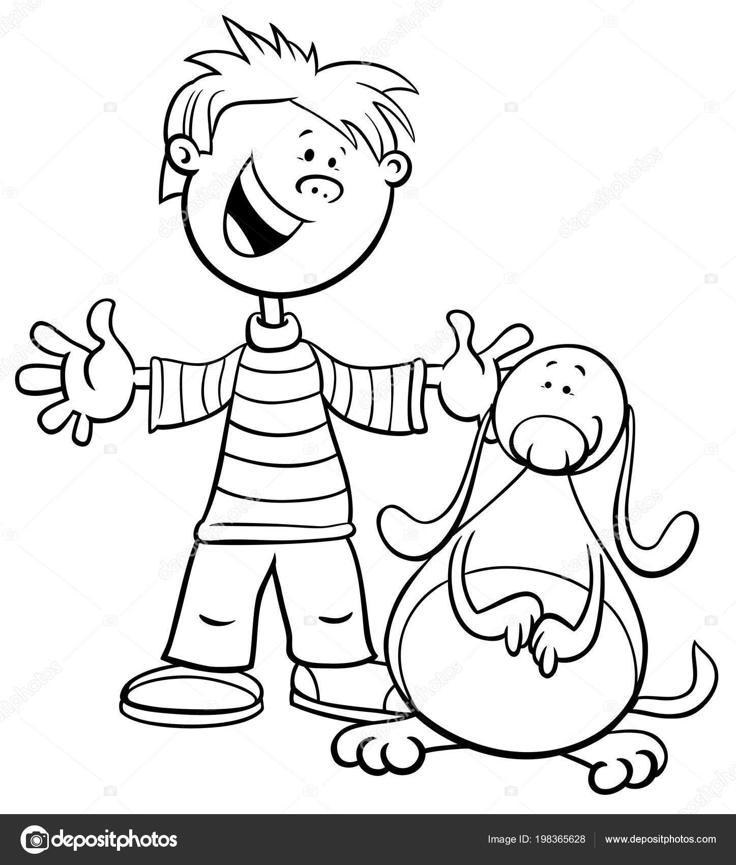 çocuk çocuk Komik Köpek Veya Köpek Boyama Kitabı Ile Siyah Stok