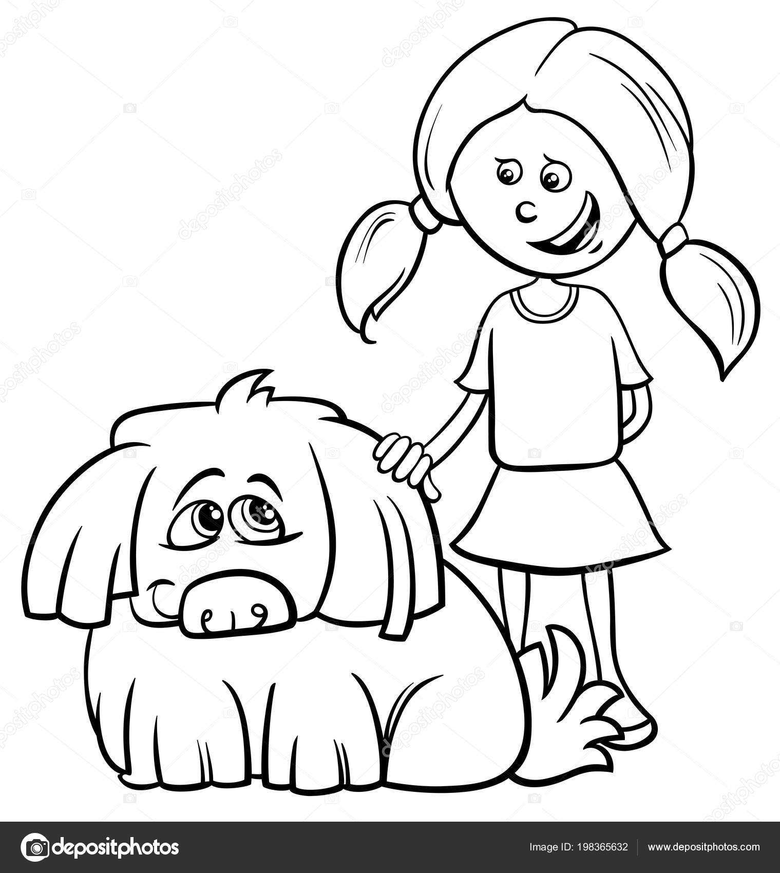 çocuk Kız Komik Tüylü Köpek Boyama Kitabı Ile Siyah Beyaz Stok