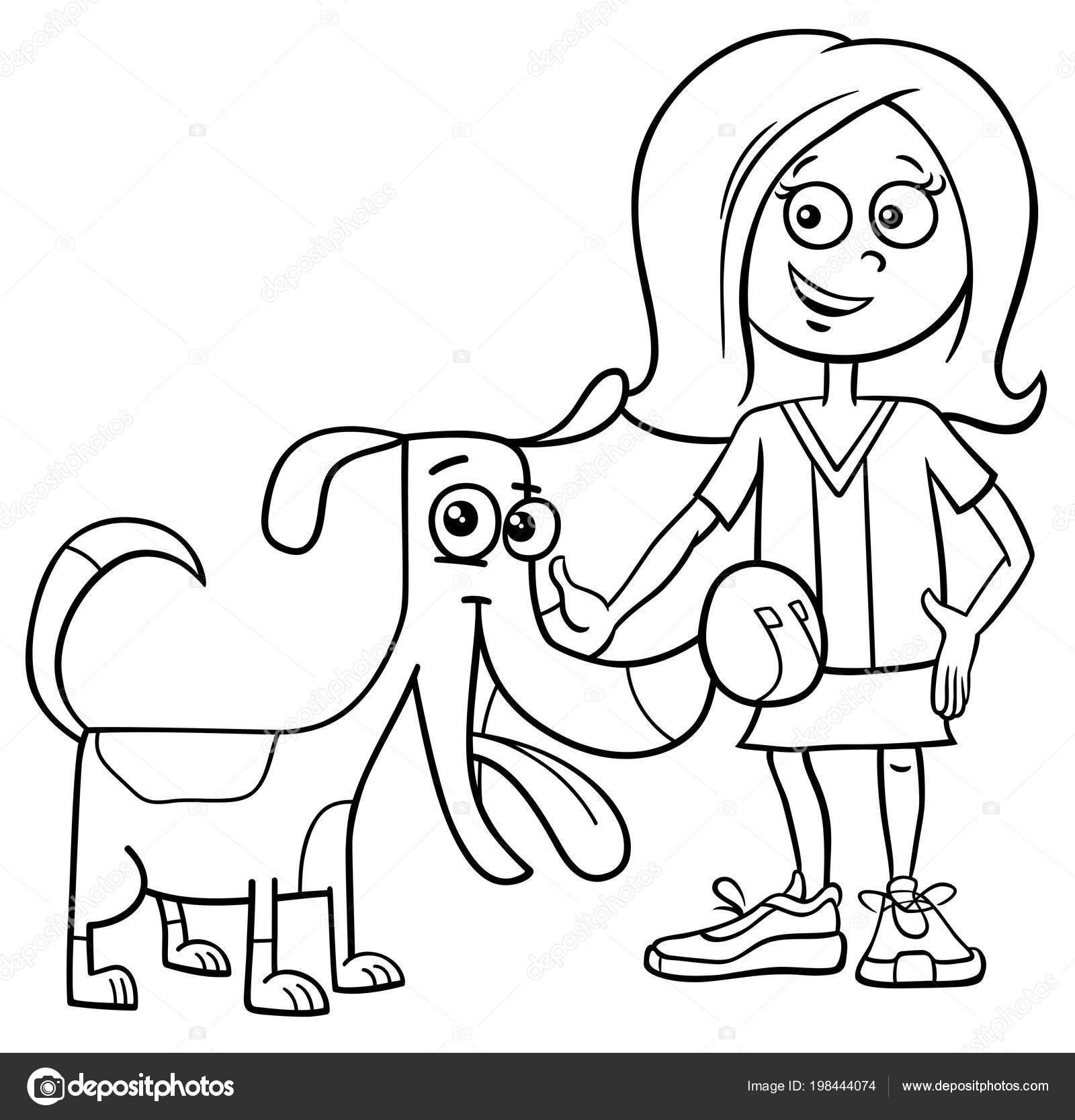 Blanco Negro Ilustracion Dibujos Animados Nino Nina Con Divertido