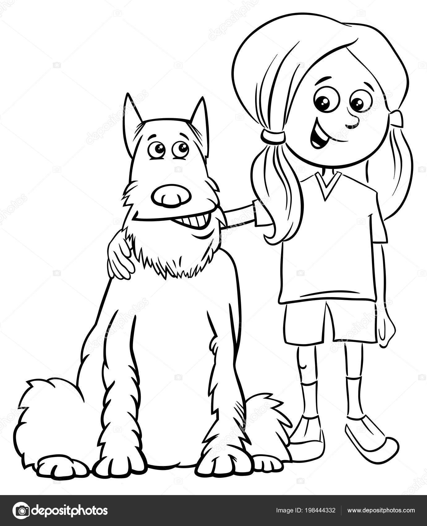 Ilustracion Dibujos Animados Blanco Negro Nino Nina Con Perro Comico