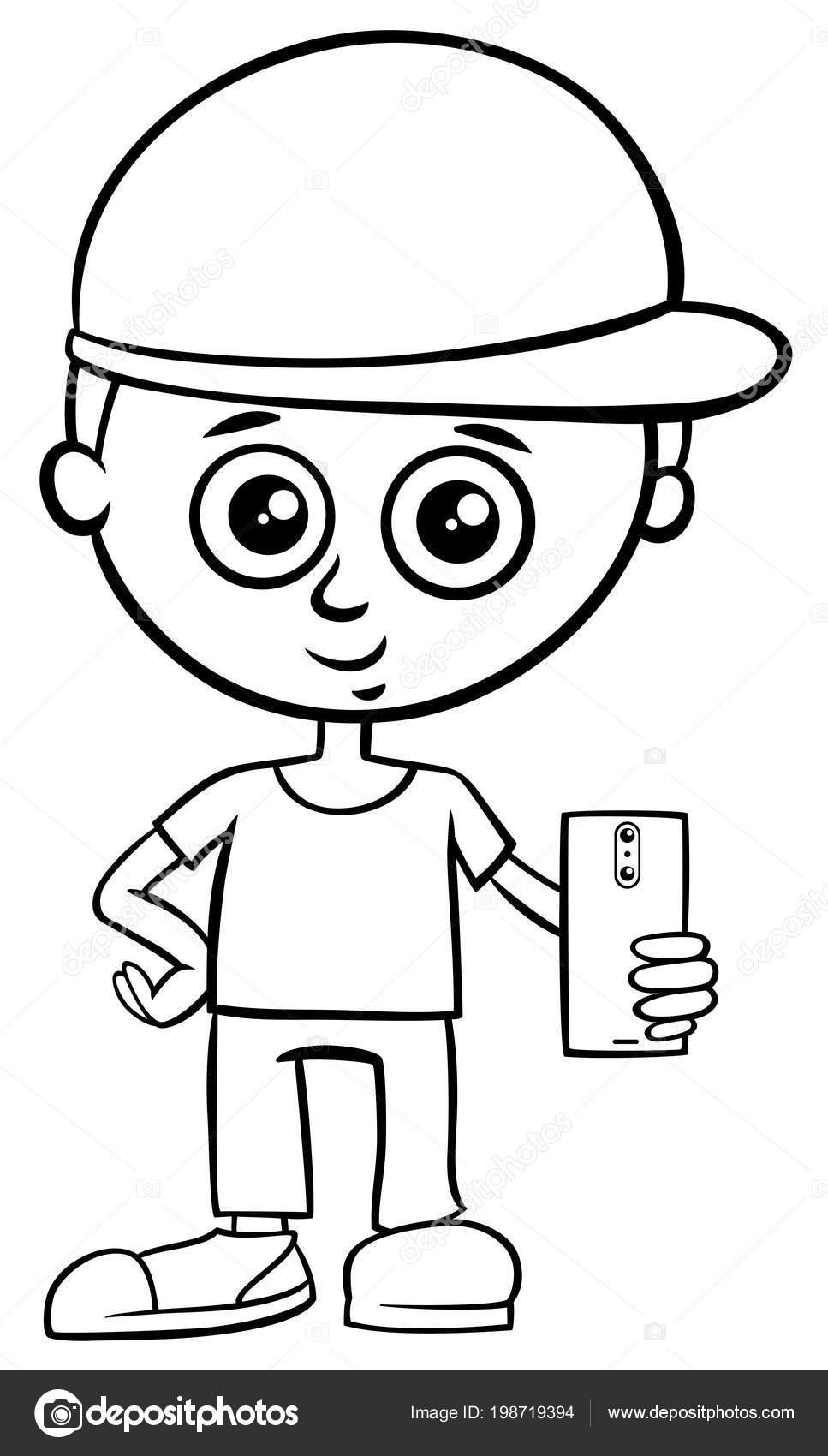 Blanco Negro Dibujos Ilustración Cabrito Chico Personaje Con ...