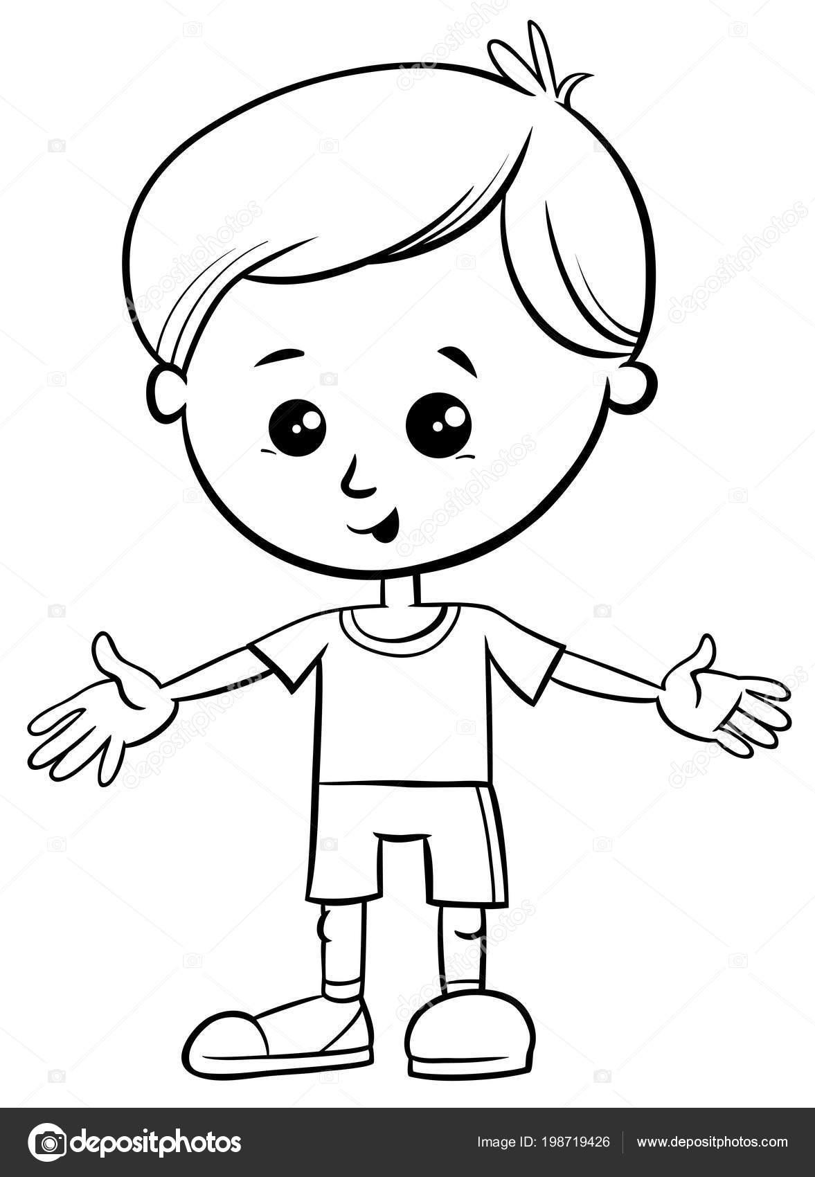 Blanco Negro Ilustración Dibujos Animados Lindo Niño Personaje