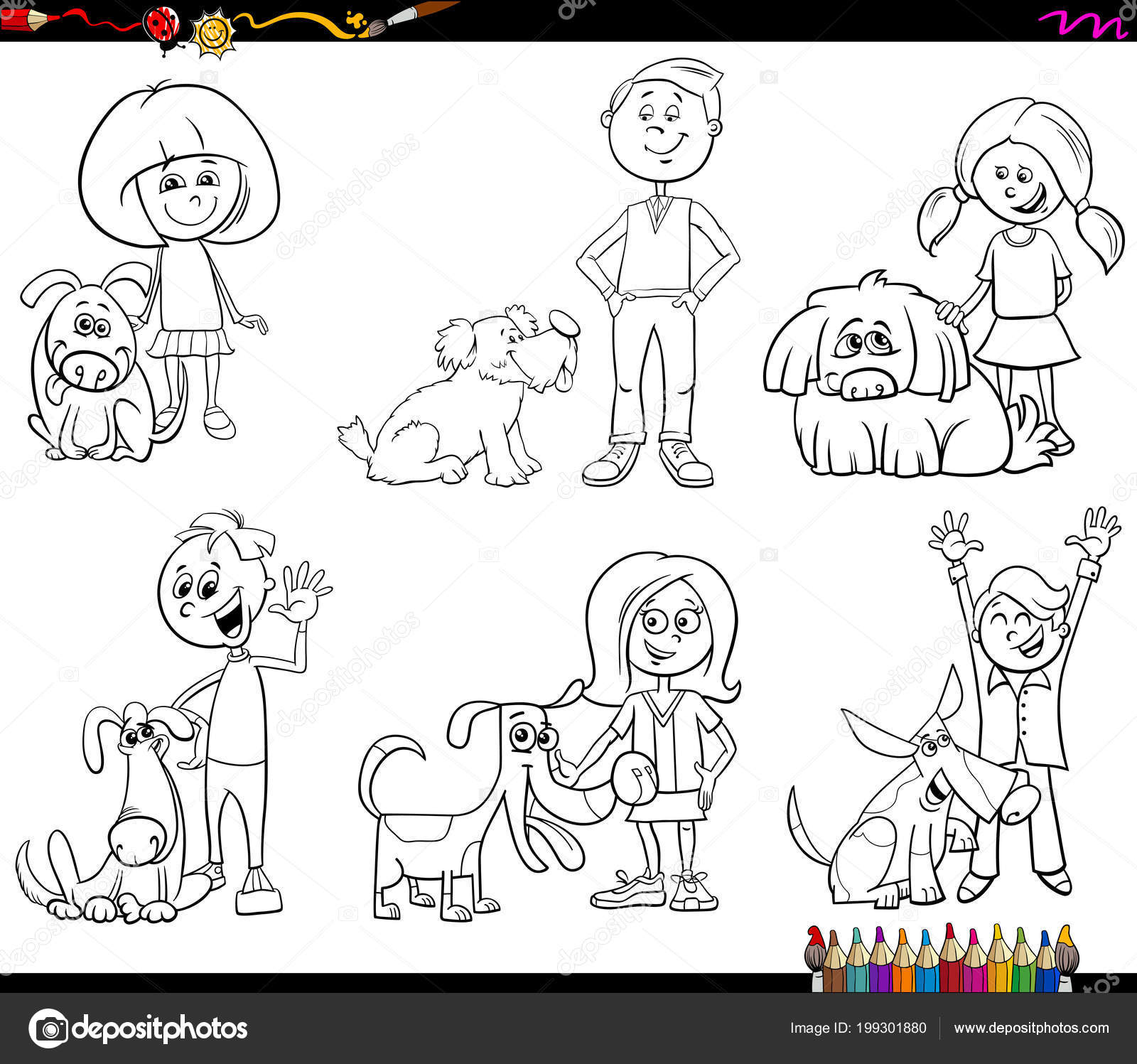 Blanco Negro Para Colorear Ilustración Dibujos Animados Del Libro ...
