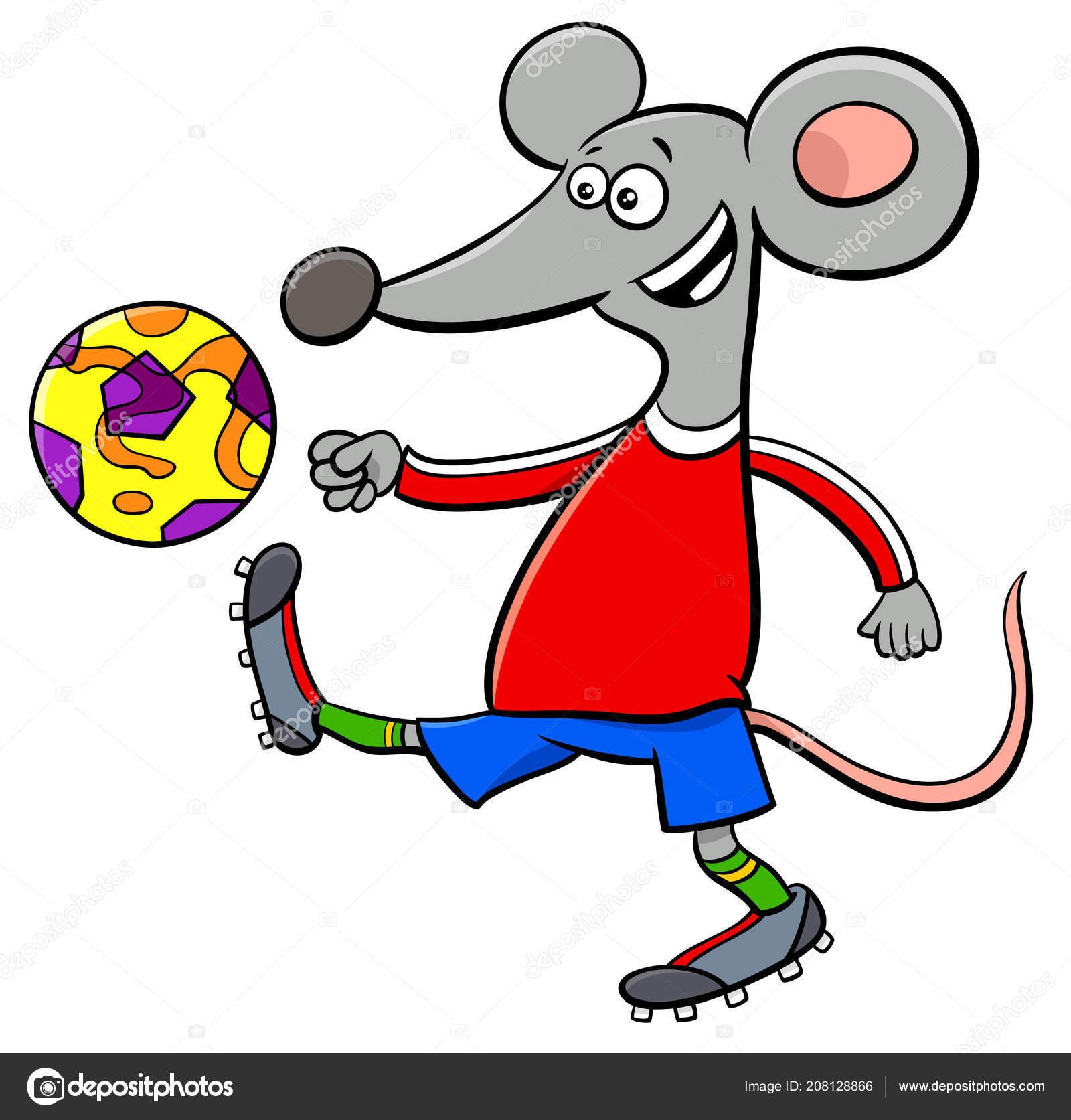 Cartoon Illustrationen Der Maus Fussball Oder Fussball Spieler