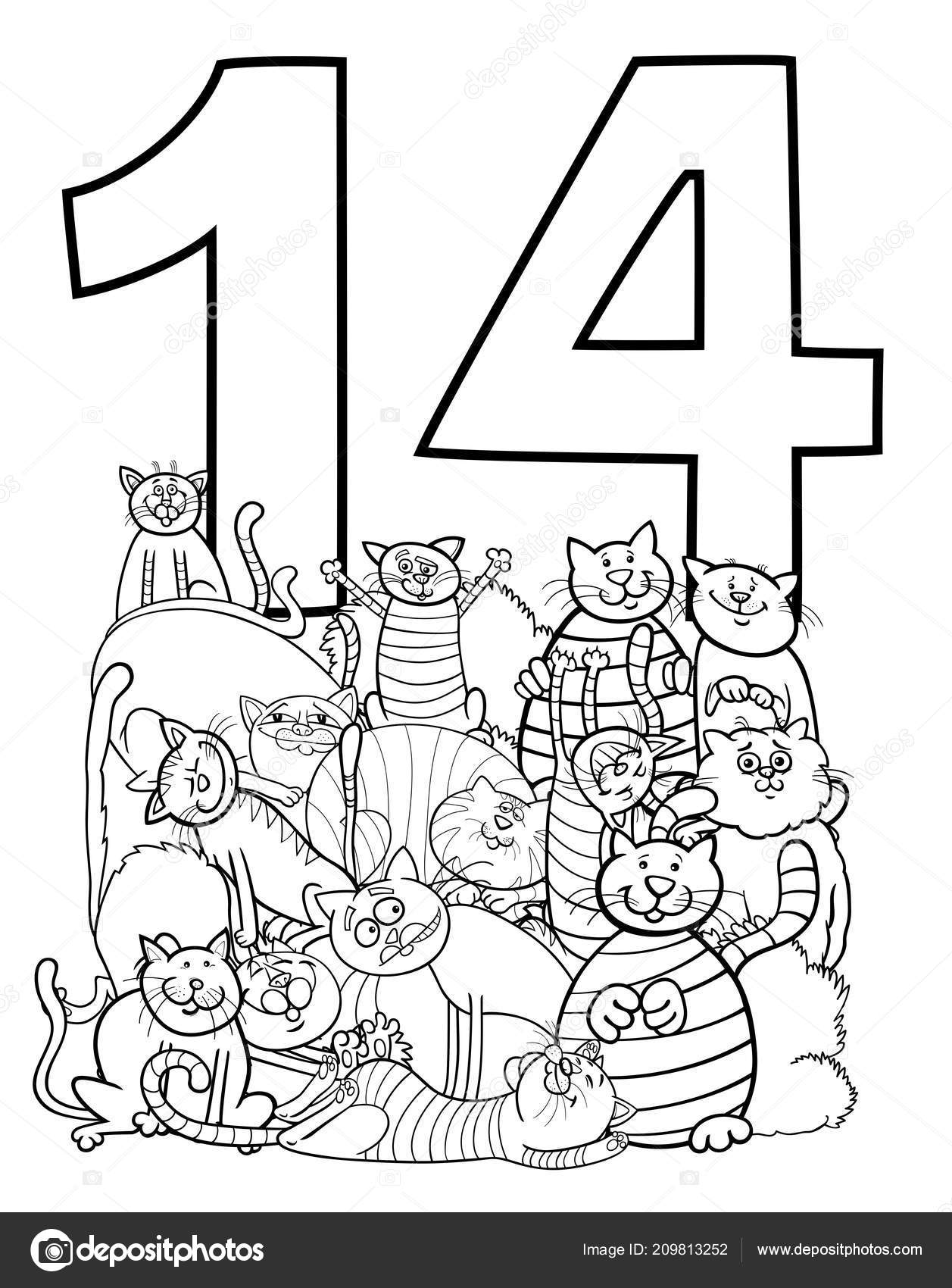Black White Cartoon Illustration Number Fourteen Cat Characters
