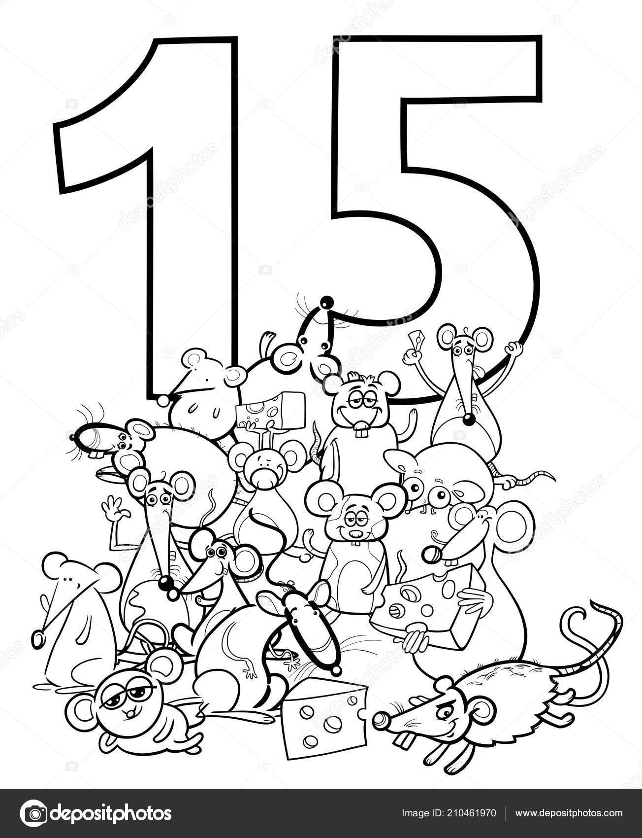 Ilustración Dibujos Animados Blanco Negro Número Quince Grupo