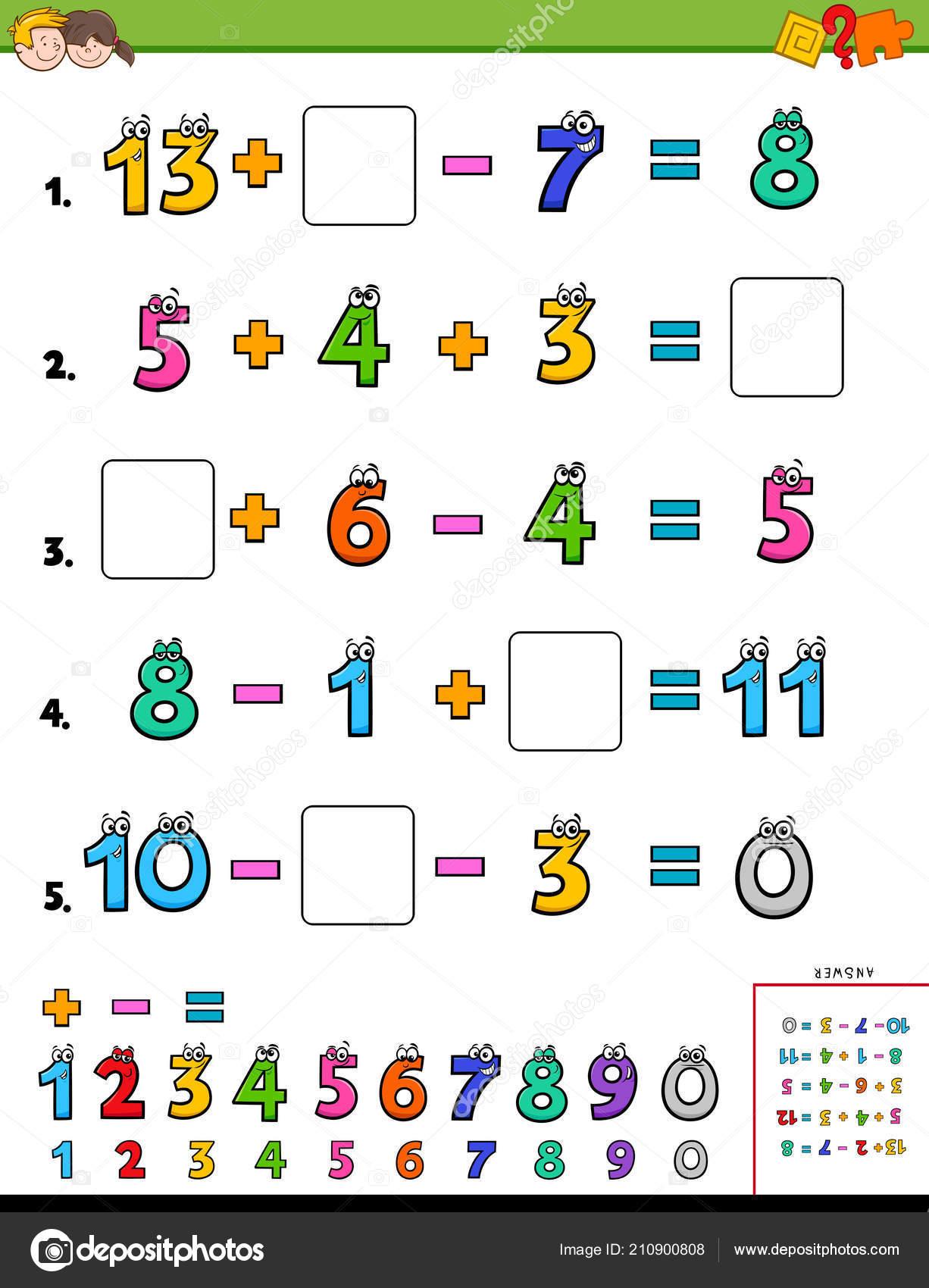 Illustration Dessin Animé Feuille Calcul Puzzle Éducatif ...