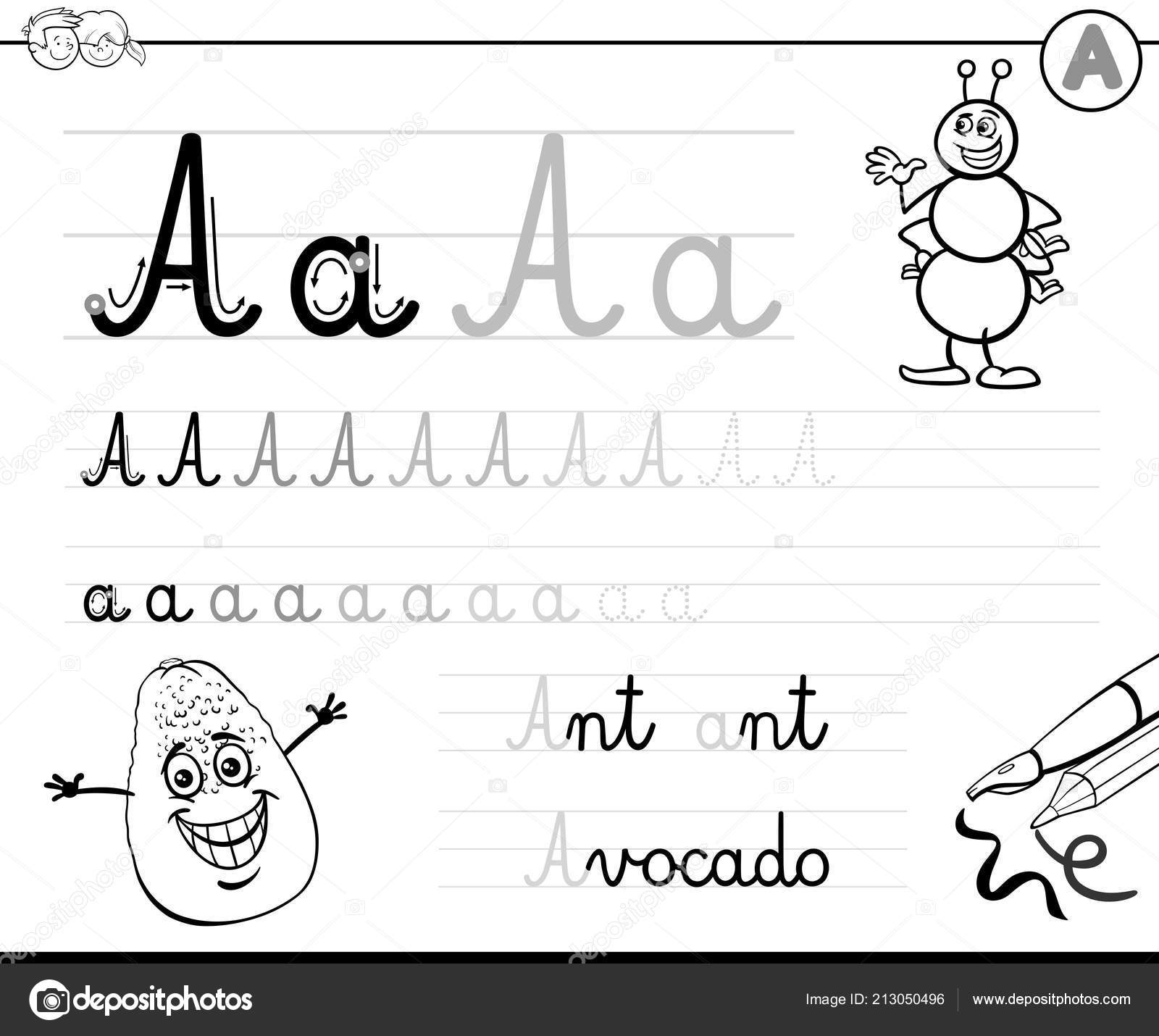 Black White Cartoon Illustration Writing Skills Practice Letter