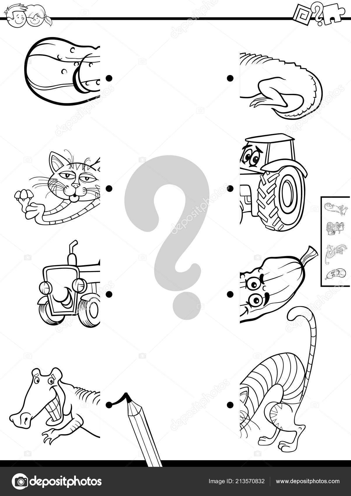 Ilustración Dibujos Animados Blanco Negro Juego Educativo
