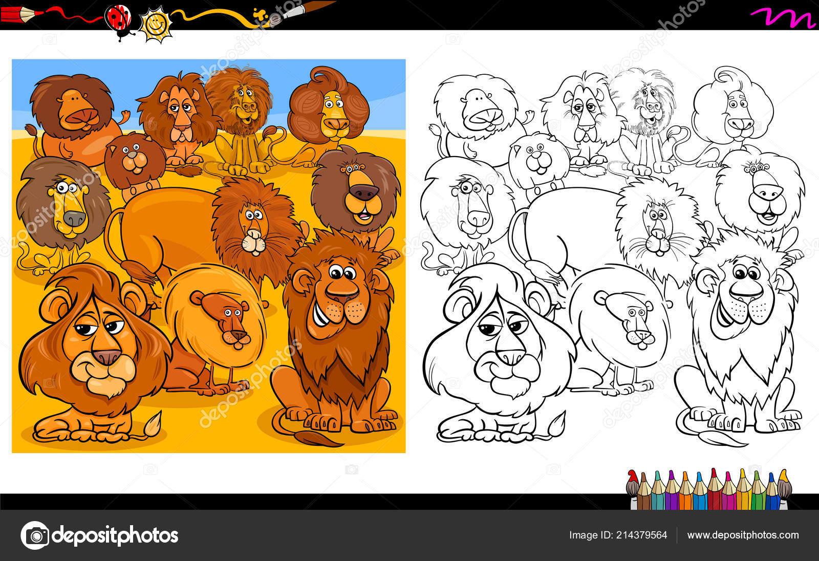 Ilustración Dibujos Animados Leones Animal Grupo Personajes Para