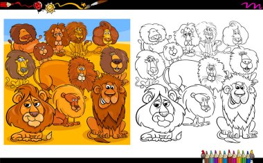 Cartoon Illustration of Lions Animal Characters Group Coloring Book Worksheet