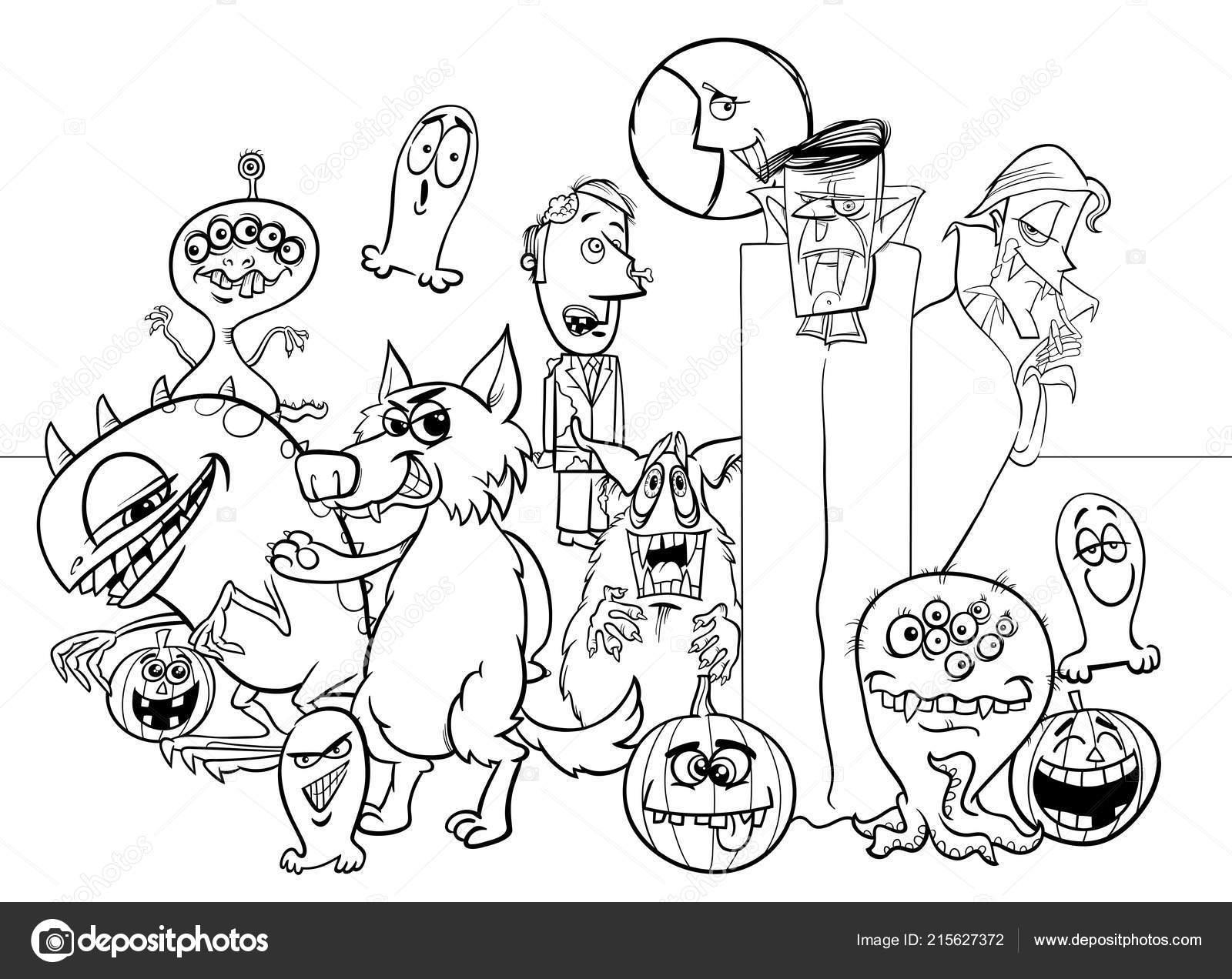 Black White Cartoon Illustration Halloween Holiday Monster Characters Group Coloring Stock Vector C Izakowski 215627372