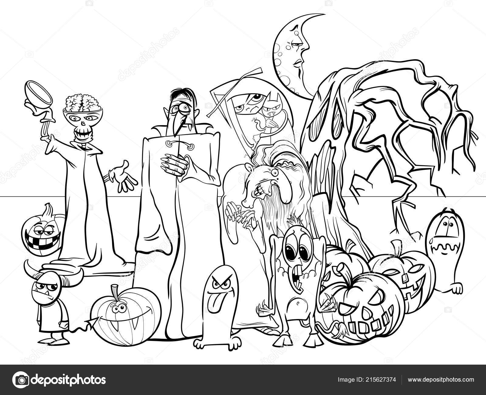 Cadılar Bayramı Tatil Korkunç Karakterleri Boyama Kitabı Grup Siyah