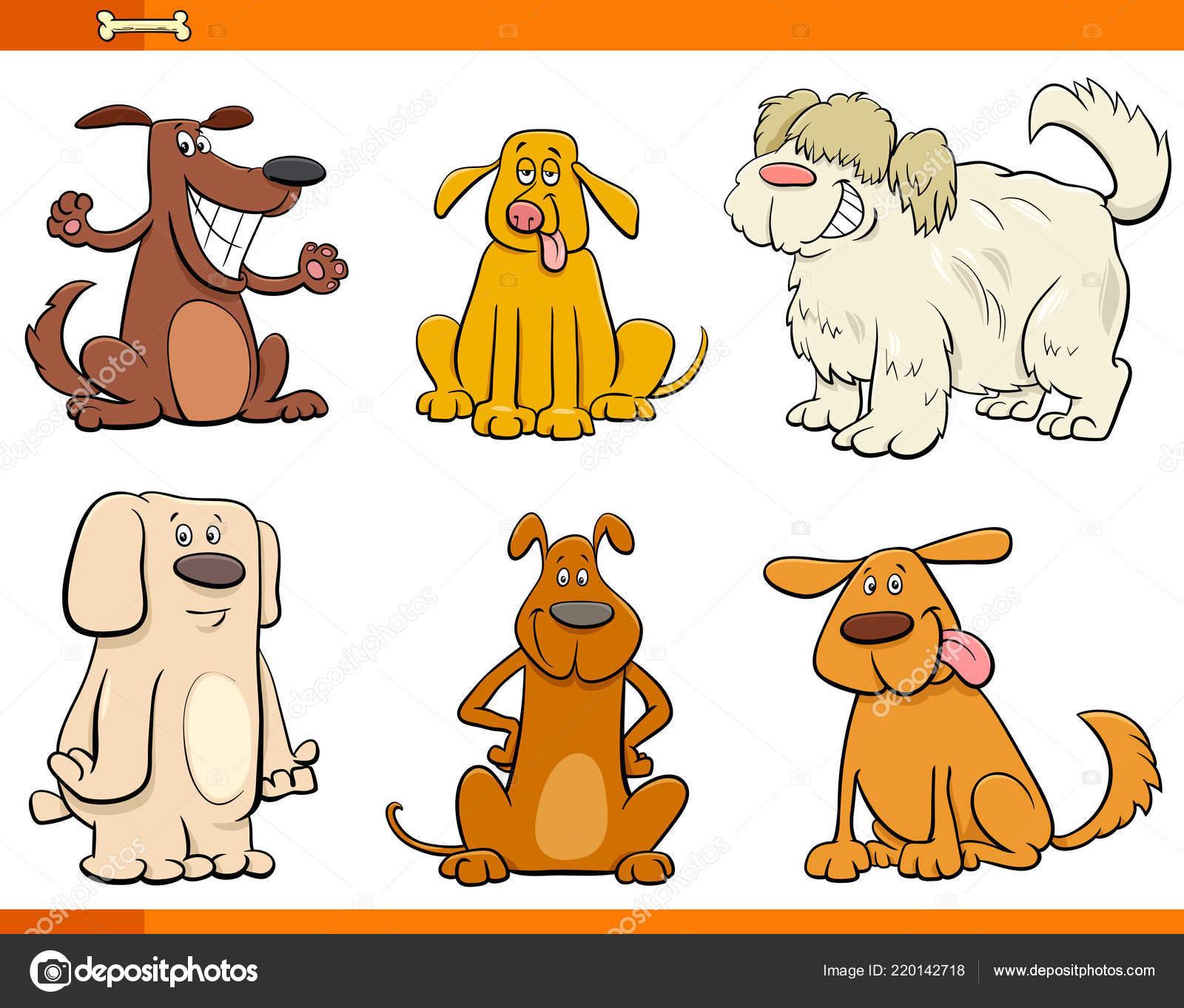 Komik Köpek Veya Yavru Hayvan Karakter Kümesi Karikatür çizimi