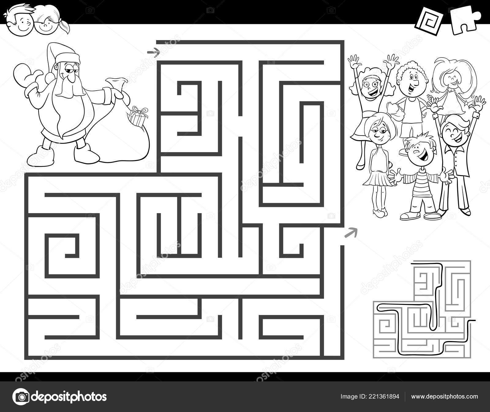 Noel Baba Boyama Kitabı Olan çocuklar Için Eğitim Labirent Veya