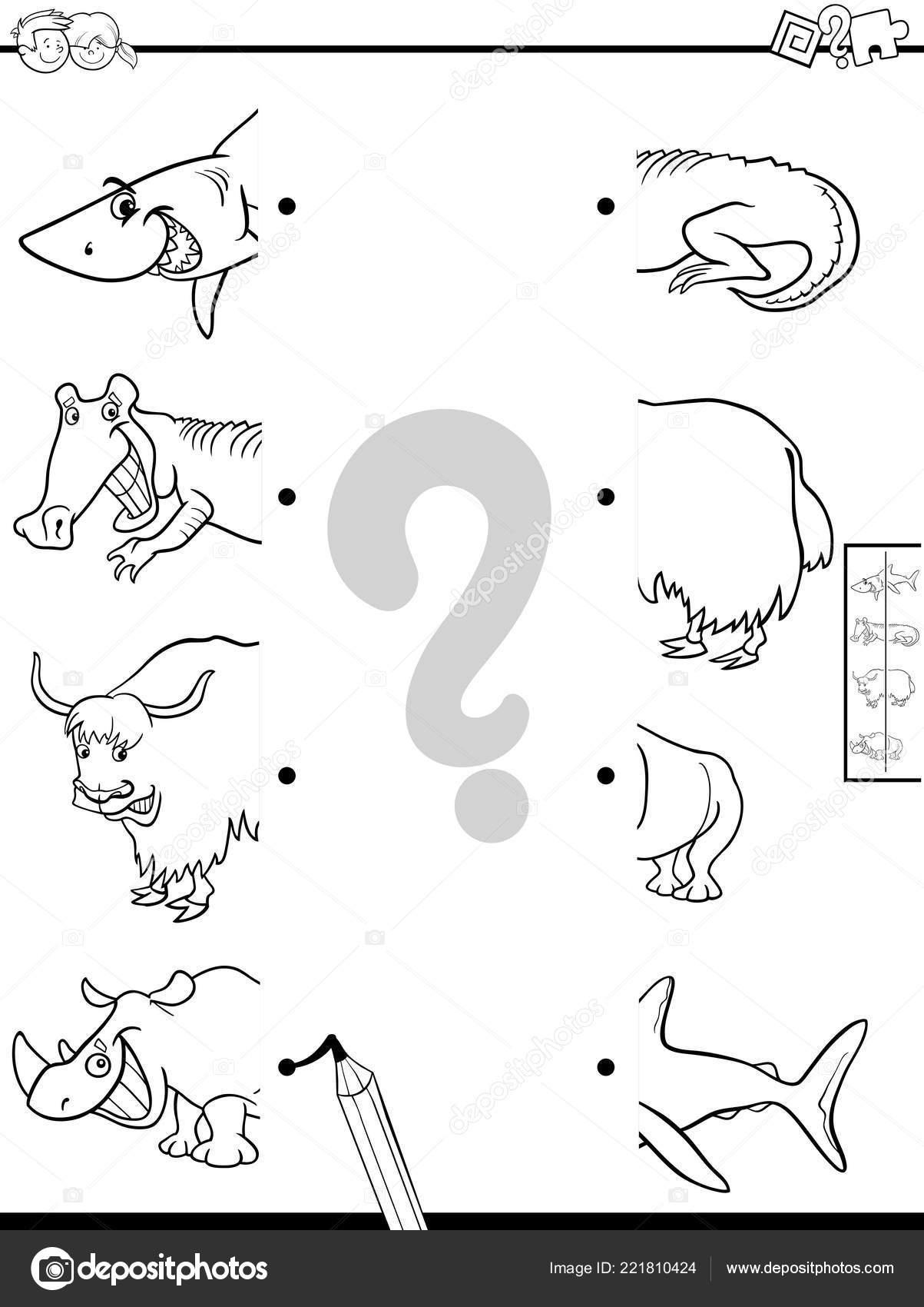 Black White Cartoon Illustration Educational Game Matching Halves