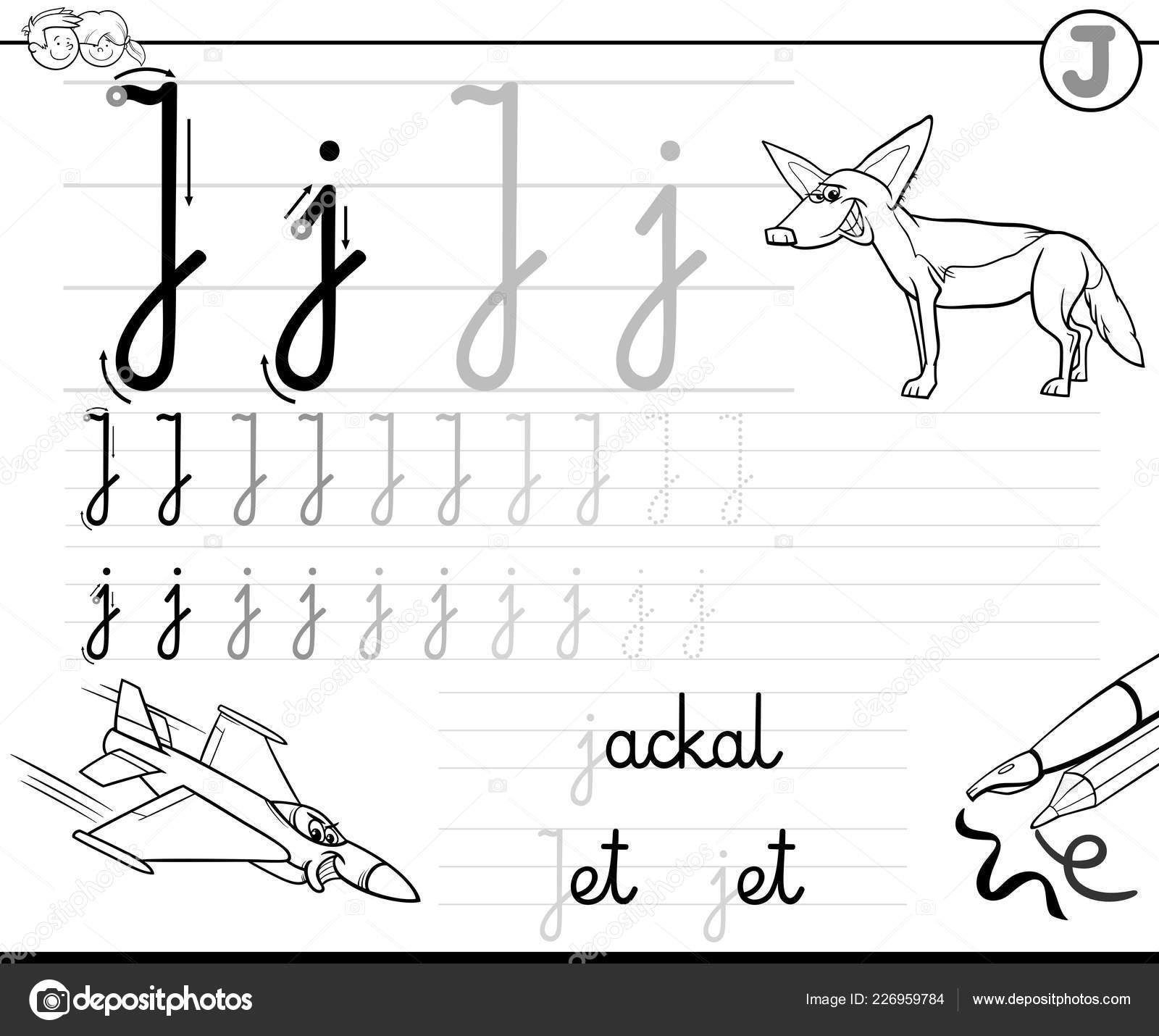 Black White Cartoon Illustration Writing Skills Practice Letter
