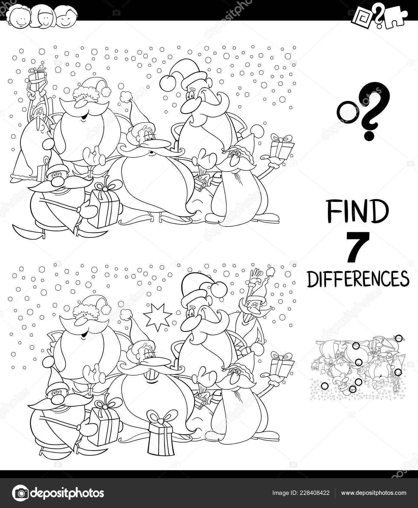Differences Game Christmas Color Book Stock Vector C Izakowski