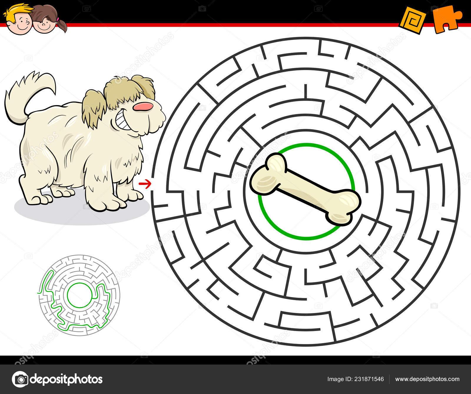 3d34b7b67 Kreslený obrázek vzdělání bludiště nebo labyrint Activity hra pro děti s  pes a kost– stock ilustrace