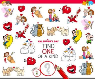 Cartoon Illustration of Find One of a Kind Picture Educational Game for Children with Valentines Day Characters