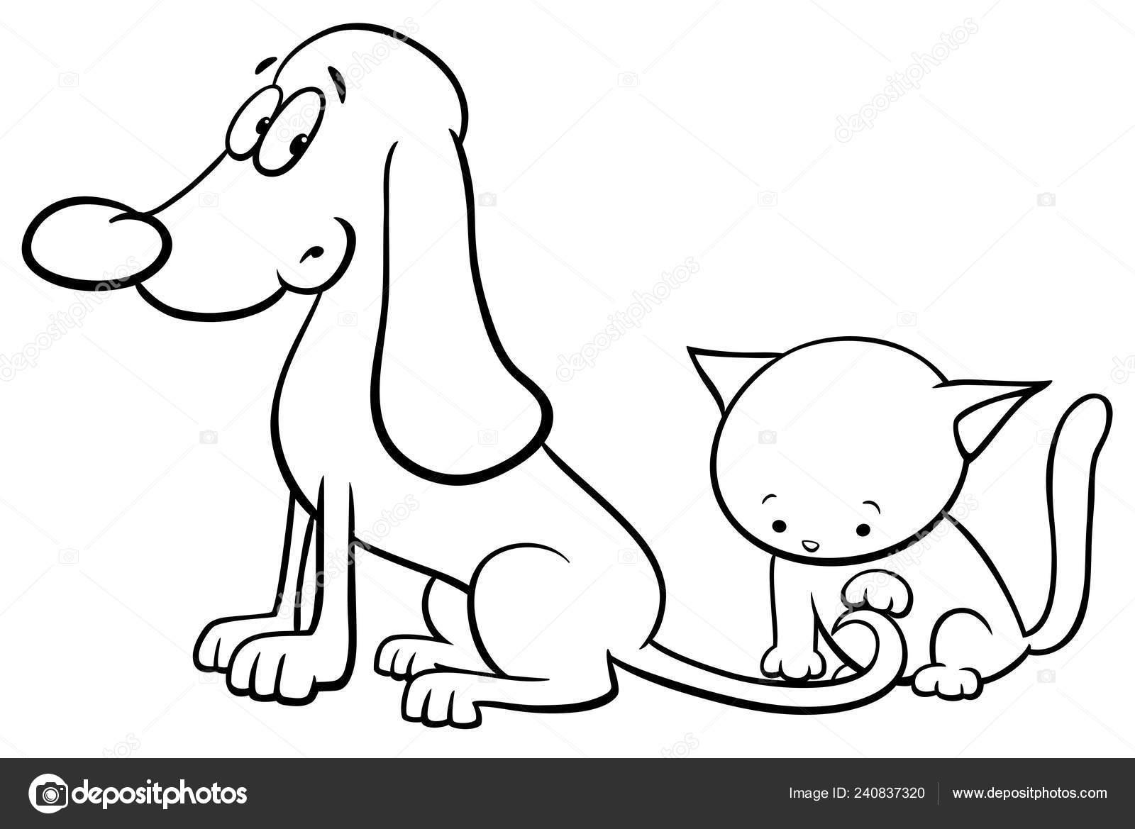 Ilustración Dibujos Animados Blanco Negro Del Perro Gatito
