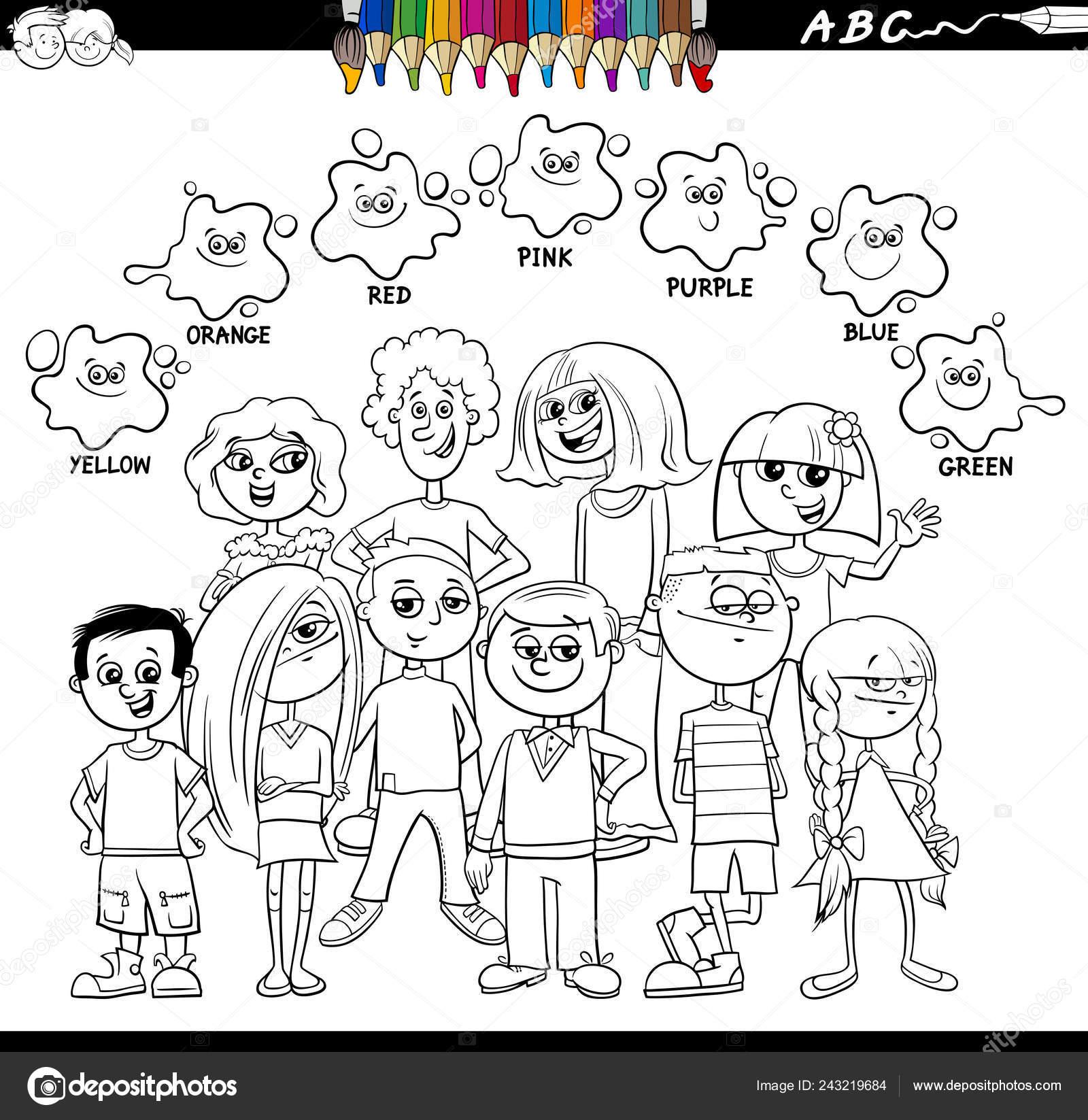 Ilustración Dibujos Animados Blanco Negro Basic Colores Hoja Trabajo