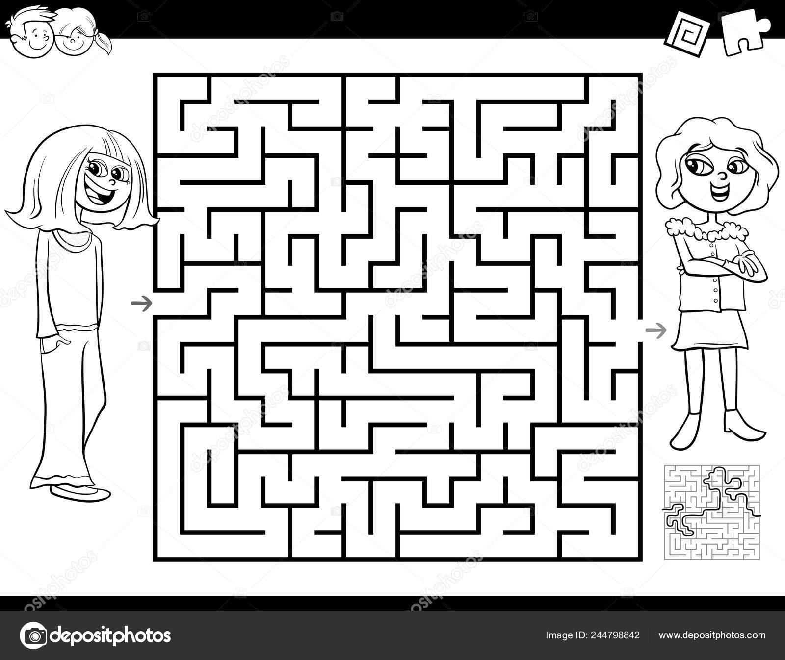 Preto Branco Cartoon Ilustração Educação Labirinto Jogo