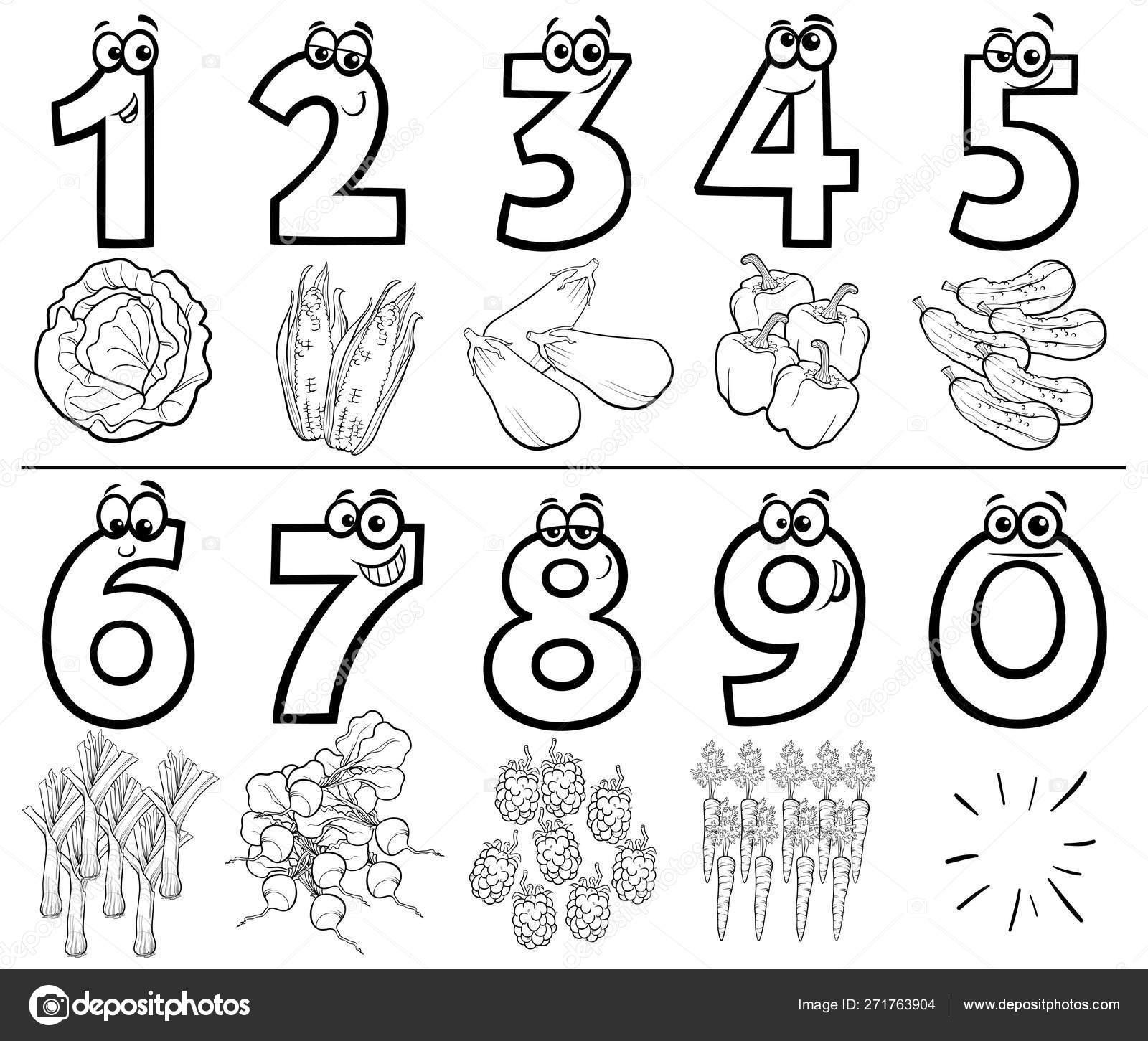Conjunto De Números Dibujos Animados Para Colorear Libro