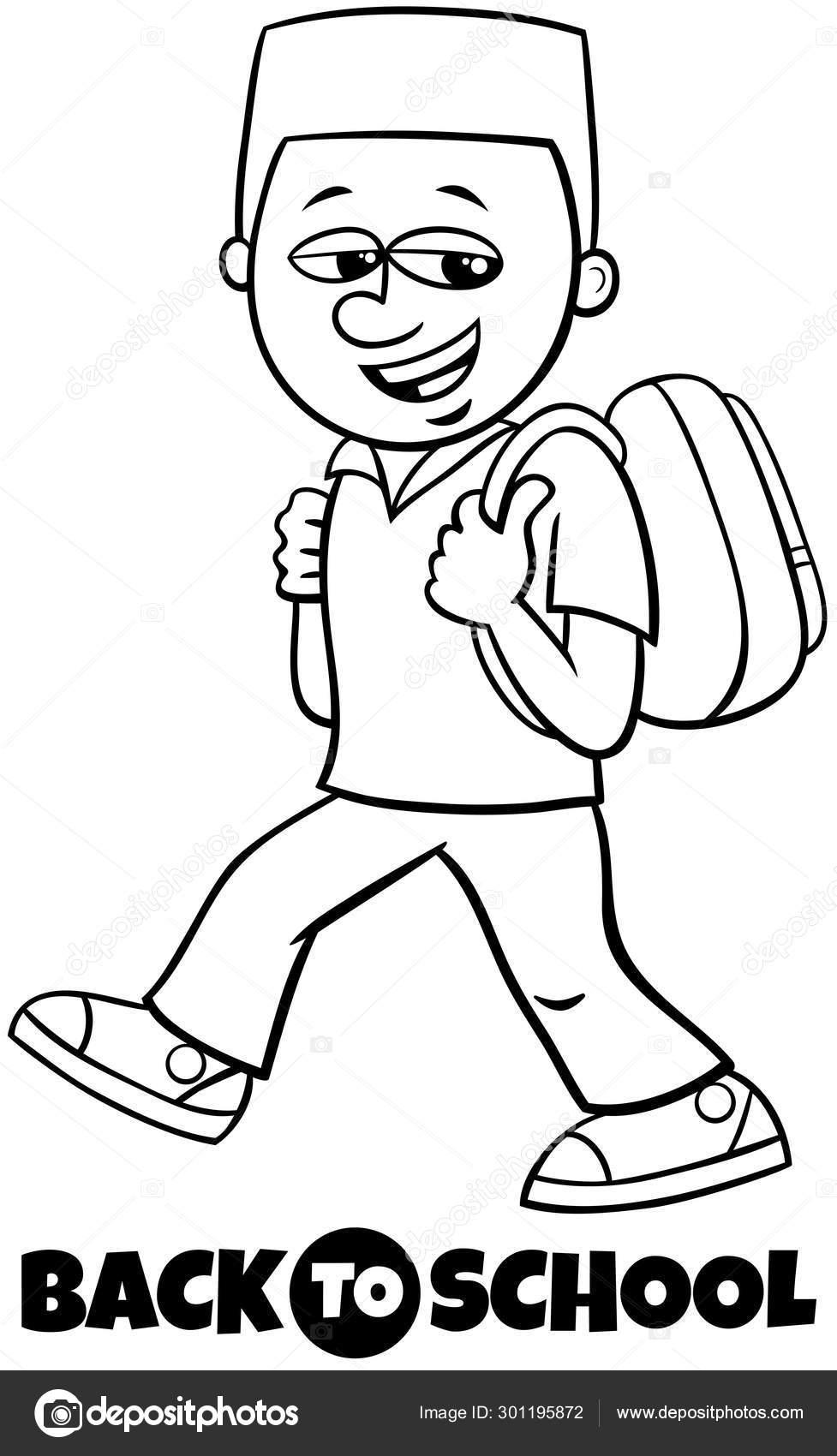 Niño Estudiante De Nuevo A La Escuela Libro Para Colorear