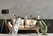 Photo Modern interior with sofa. Wall mock up. 3d illustration.
