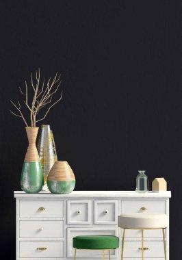 Modern interior with dresser. Wall mock up. 3d illustration. stock vector
