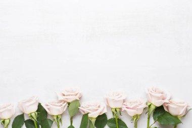 """Картина, постер, плакат, фотообои """"Композиция цветов. Рама изготовлена из розовой розы на сером фоне."""", артикул 251807586"""