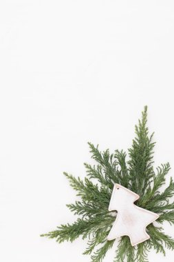 Christmas composition. Christmas decorations on white background