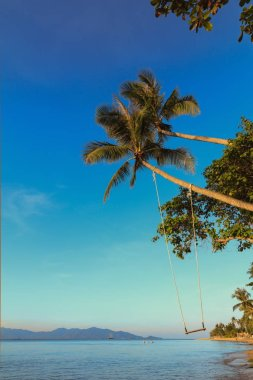 """Картина, постер, плакат, фотообои """"солнечный день, голубое небо и пляж, пальмы """", артикул 233026186"""