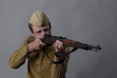 portrait of man in form of soldier of Red Army of Soviet Union during 1930-1940 period