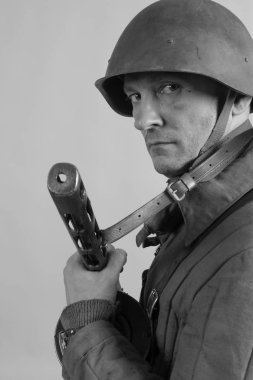 man actor in the uniform of an officer of the Red Army period World War II