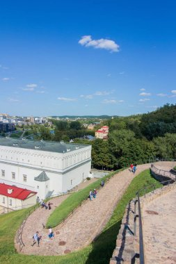 VILNIUS, LITHUANIA - AUGUST 27, 2018: View of Vilnius city on day off in sunny weather.
