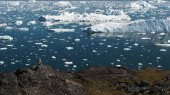 Icebergs are on the arctic ocean in ilulissat icefjord. Nature and landscapes of Greenland.