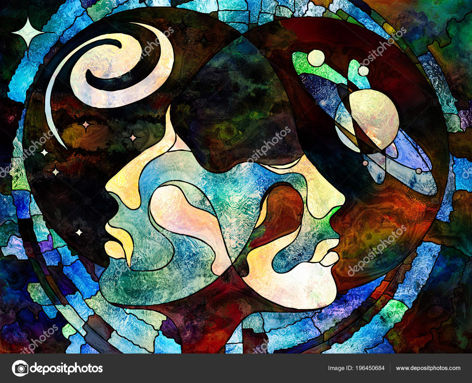Stained Glass Forever Series Lover Heads Looking Each Other
