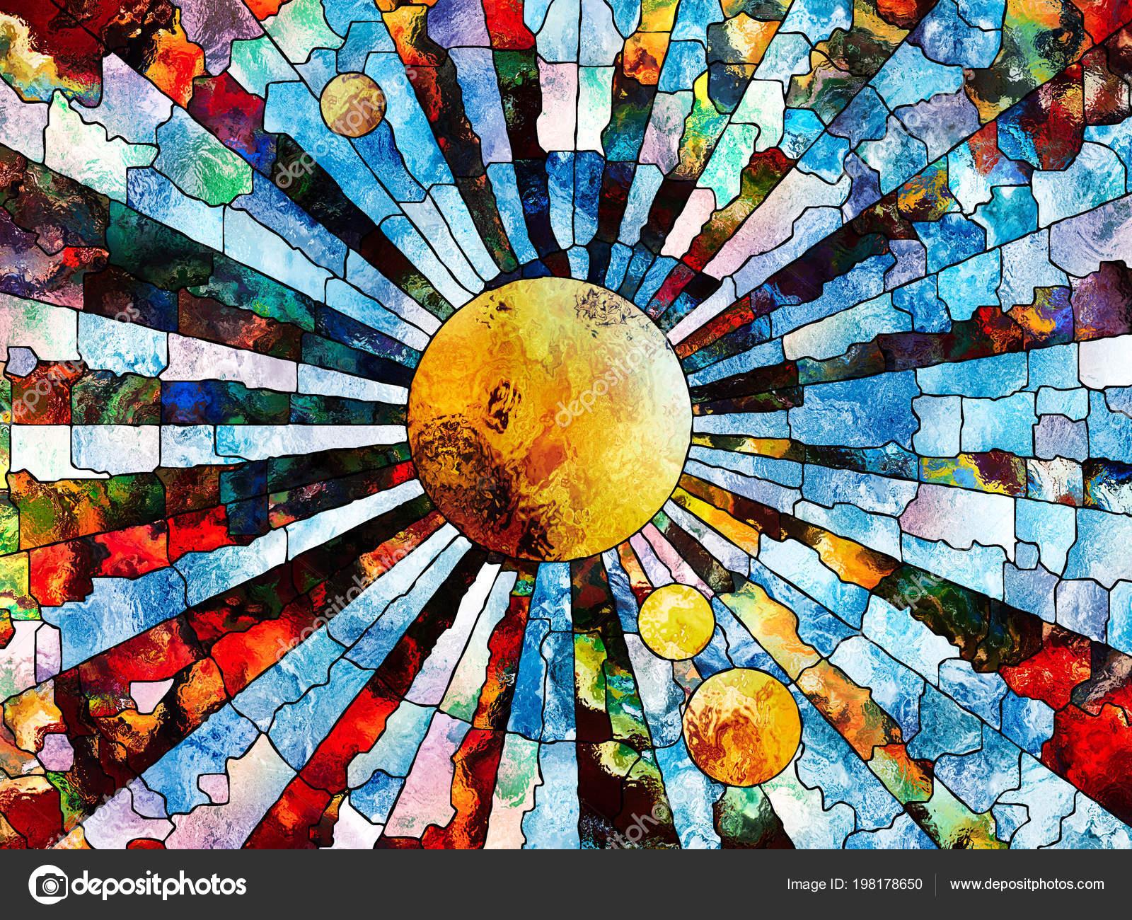 52696770fa1afe Série de vitraux pour toujours. Planète stylisée exécuté avec style  mosaïque sur le thème de l'éducation, la science, l'astronomie et la Nature  — Image de ...