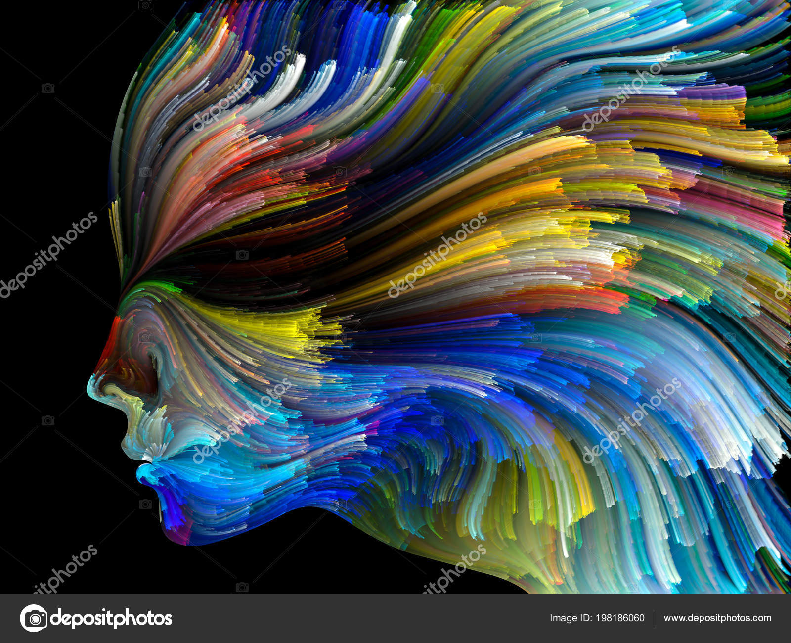 Face Color Series Abstract Design Made Human Profile