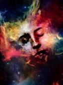 Bude vesmír pamatovat nás série. Souhra ženská tvář, mlhoviny a hvězdy na téma vesmír, příroda, lidské mysli a představivosti