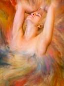 Ihre Weltserie. Arrangement von Frauenporträts verschmolzen mit lebendiger Farbe zum Thema Gefühle, Emotionen, Innenwelt, Kreativität und Fantasie
