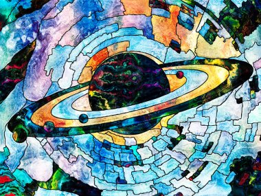 Stained Glass Forever series. Image of Saturn like planet executed with mosaic style on the subject of science, education, astronomy and Nature