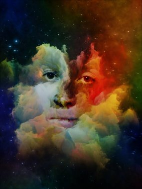 Will Universe Remember Us series. Backdrop of  woman's face, nebula and stars to complement your design on the subject of Universe, Nature, human mind and imagination