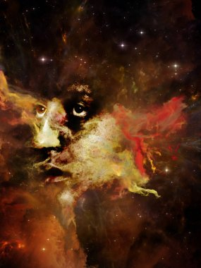 Will Universe Remember Us series. Abstract design made of woman's face, nebula and stars on the subject of Universe, Nature, human mind and imagination
