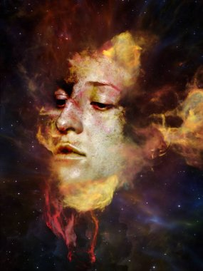 Will Universe Remember Us series. Background design of woman's face, nebula and stars on the subject of Universe, Nature, human mind and imagination